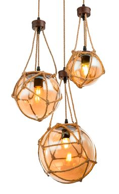 Lustra cu 3 pendule design rustic Ø43cm TIKO 15859-3H GL - Corpuri de iluminat, lustre, aplice Ceiling Lights, Lighting, Pendant, Metal, Home Decor, Decoration Home, Room Decor, Hang Tags, Lights