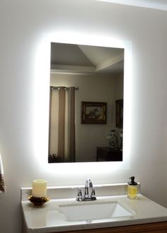 Details About Lighted Vanity Mirror Make Up Wall Mounted LED Bath MAM92840 Side Lig