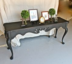 Sofa Table Painted With Graphite Chalk Paint Distressed And Then Sealed Clear Black Wax