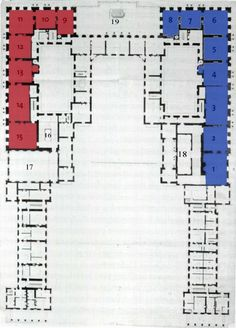 Fig. 1 Anonymous, First Floor Plan of Versailles, 1673 Stockholm, Nationalmuseum, NMH THC 3 (color map and numbered by the author) ..