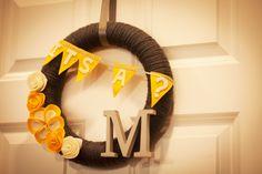 DIY Yarn Wreath for Gender Neutral Baby Shower
