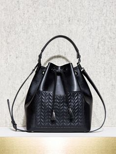 Large bucket bag with v quilted pocket - FALL COLLECTION - Maje.com