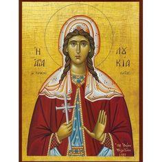 Orthodox icon of Saint Lucy of Syracuse. Byzantine Icons, Byzantine Art, Santa Lucia, Famous Freemasons, Christian Friends, Art Icon, Patron Saints, Orthodox Icons, Mother Mary