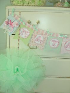 ADORABLE birthday banner at a princess fairy party via Kara's Party. Mint green & pinks