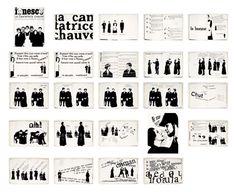 "Robert Massin's interpretation of Eugène Ionesco's play ""La Cantatrice chauve"" Parigi 1964 Composition D'image, Sistema Visual, Eugene Ionesco, Typo Logo, Graphic Design Typography, Printed Materials, Art Director, Editorial Design, Layout"