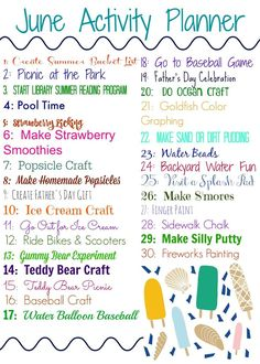 June Activity Planner for Kids (& Free Printable I am one of those people that has tons of ideas & things that I would love to do with my kids, but if I don't organize my plans then it will never get done! Summer is a busy season with everyone at home du Summer Fun For Kids, Summer Fun List, Summer Activities For Kids, Summer Bucket Lists, Toddler Activities, Fun Activities, Babysitting Activities, Summer Daycare, Summer Camp Themes