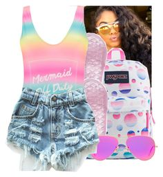 """""""."""" by eirinimaria ❤ liked on Polyvore featuring Bomedo, JanSport, Puma, Boohoo, Ray-Ban and Levi's"""
