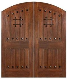 Mahogany Olbia Elliptical Arch Plank Double Doors with Clavos and Speak Easy