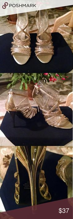 """Guess Gold Leather Dressy High Heel Sandal VEUC. Beautiful gold leather high heel Sandal with a 4"""" gold tone heel. Worn only 1 time for about 2 hours.  Brand new excellent condition. Great for weddings, holidays, and proms. Guess Shoes Heels"""