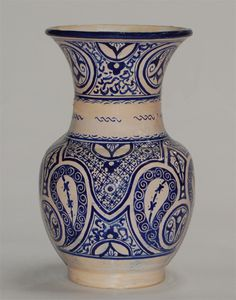 Moroccan Blue Ceramic Pottery Vase with Fes Design