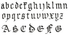 a gothic minuscule alphabet and some majuscule letters