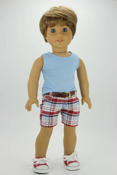 Handmade 18 inch doll clothes - Boy red, white and blue 3 piece shorts outfit (588) by DolliciousClothes on Etsy