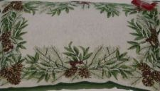 St Nicholas Square Holiday Throw Pillow Pine & Mistletoe Tapestry Accent Cushion
