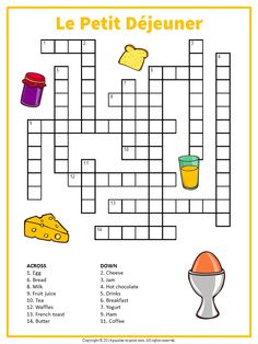 A printable crossword featuring terms from a French breakfast table. Help your students and kids build their vocabulary with our French puzzle collection.