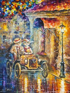 "Cat Car - Palette Knife Oil Painting On Canvas By Leonid Afremov - 30""X40"" (75cm x 100cm)"