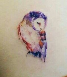 "A watercolor owl. To symbolize my time spent in Seattle, WA, AKA ""Owl City"". The owl also symbolizes secrets, and wisdom."