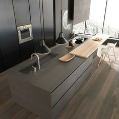 Island Kitchen Modern 15 stylish wood furniture and features with natural edge | simple