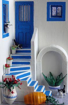 Clay Wall Art, Ceramic Wall Art, Clay Art, Miniature Crafts, Miniature Houses, Santorini House, Greek Decor, Mini Doll House, Home And Deco