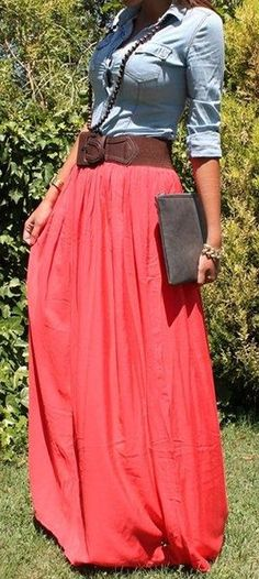 Chambray + Coral Maxi Skirt <3 ...minus the bursting button across the chest.