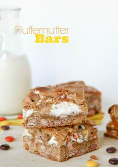 Fluffernutter Bars -- we LOVE these!!  Chewy and  peanut buttery with lots of marshmallow swirl.  So good!!