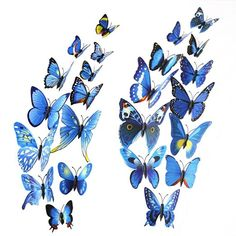 Mudder 24 Pieces 3D Butterfly Stickers Wall Stickers for Home Decoration, Blue