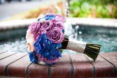 blue, purple and peach color palette, wedding bouquet, wedding flowers, www.christinalogandesign.com
