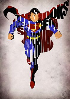 Superman Inspired Man of Steel Typographic Print and Poster via Etsy Comic Book Heroes, Dc Heroes, Comic Books Art, Comic Art, Book Art, Superman Logo, Batman, Superhero Superman, Superman Art