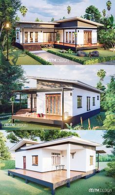 Stunning Three-bedroom Bungalow on a Platform with Extended Balcony - House Modern Small House Design, Simple House Design, Tiny House Design, Small Modern Home, Container House Plans, Container House Design, Modern Bungalow House, Small Bungalow, House With Balcony
