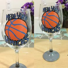 New York Knicks hand painted wine glass