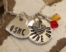 USMC (Marine Mom) Necklace with a Swarovski Crystals
