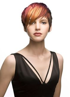 Red short hair. This is amazing color work.