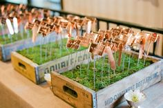 Copper Escort Cards like my plant markers!