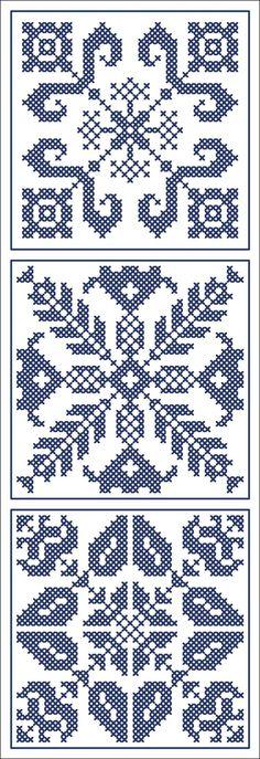 Three blue tiles | Chart for cross stitch of filet crochet.