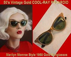 Vintage Original 1950s COOL-RAY Polaroid GOLD MARILYN MONROE STYLE Sunglasses $199