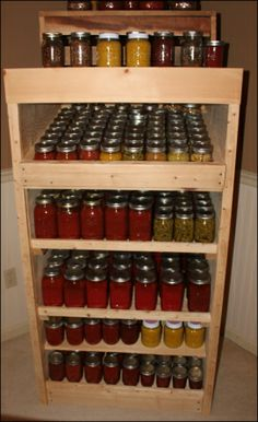 Canning jar cabinet made out of wood pallets