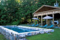 "Bunny Williams' ""backyard"" hillside pool and pavilion."