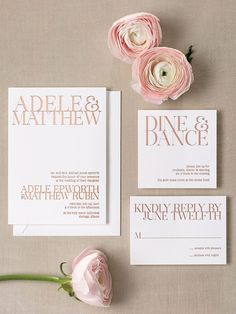 "If you're saying ""I do"" in a gallery or modern loft space, opt for a striking but uncomplicated design. Graphic text in rose gold foil elevates this modern wedding look."