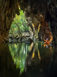 Cave with no name - Khammuoane province, Laos..caves everywhere you look. This one had deep water.