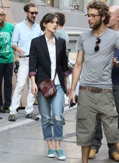Turquoise Conversy-type shoes + holy jeans + white collared shirt + blazer    casual: Keira Knightley