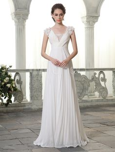 Vestido de novia de chifón con cuello en V y flores 110€