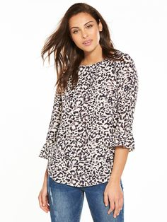 Wallis Animal Print Frill Sleeve Top We're going wild for this super sexy leopard top by Wallis. Designed to flatter in a relaxed fit, it's covered corner-to-corner in sultry animal prints and finished with fluted three-quarter sleeves for a flirty, feminine look.Team with jeans and heels for cocktails this Friday night.Washing Instructions: Machine WashableMaterial Content: 98% Polyester 2% elastane