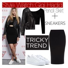 """""""Tricky Trend with Gigi Hadid..."""" by nfabjoy ❤ liked on Polyvore featuring Boohoo, Roland Mouret, adidas Originals, Zara, TrickyTrend, leatherjacket, sneakers, pencilskirt and gigihadid"""