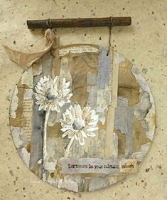Let Nature Be Your Calming Breath - A Hanging by Lynne Moncrieff - That's Crafty! Crafts For Kids, Arts And Crafts, Craft Kids, Tea Bag Art, Feather Art, Collage Art, Breathe, Paper Art, Mixed Media