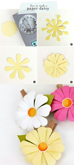 The simplest way to make paper daisies plus ideas for how to use them on pretty packaging Damask Love Paper Flowers Diy, Handmade Flowers, Flower Cards, Diy Paper, Fabric Flowers, Paper Art, Paper Crafts, Diy Crafts, Flores Diy