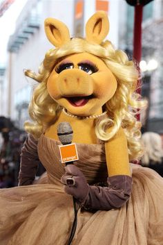 """""""Of course, darlings, I wouldn't miss the Poodle Peace Parade for all the pig slop in China or Ireland or wherever! You heard me! Miss Piggy Kermit And Miss Piggy, Kermit The Frog, Danbo, The Coveteur, Fraggle Rock, The Muppet Show, Jim Henson, Designer Gowns, Look At You"""