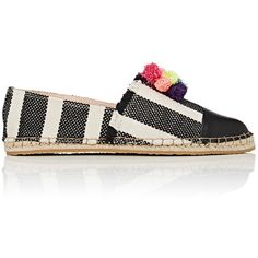 Loeffler Randall Women's Mara Striped Espadrilles (€230) ❤ liked on Polyvore featuring shoes, sandals, black and white espadrilles, espadrilles shoes, slip-on shoes, slip on espadrilles and braided sandals