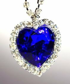 "Crystal Titanic Blue Heart of the Ocean Pendant Necklace-28MM JPG. $19.98. 18"" long Chain with 2 inch extention. Perfect for Mothers day, Valentines Day, Christmas. Bermuda Blue  Crystal Pendant w/ Crystal accents"