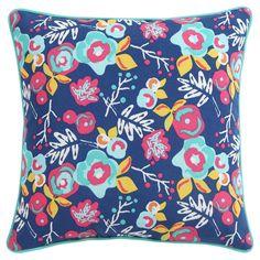 """Patio Floral Throw Pillow (18""""x18"""") - Clairebella, Blue Multicolor"""