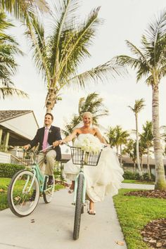 bride and groom bike away - perfect for Sanibel Island's beach paths.