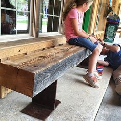 Benches made from I-beams - I love their rustic look!
